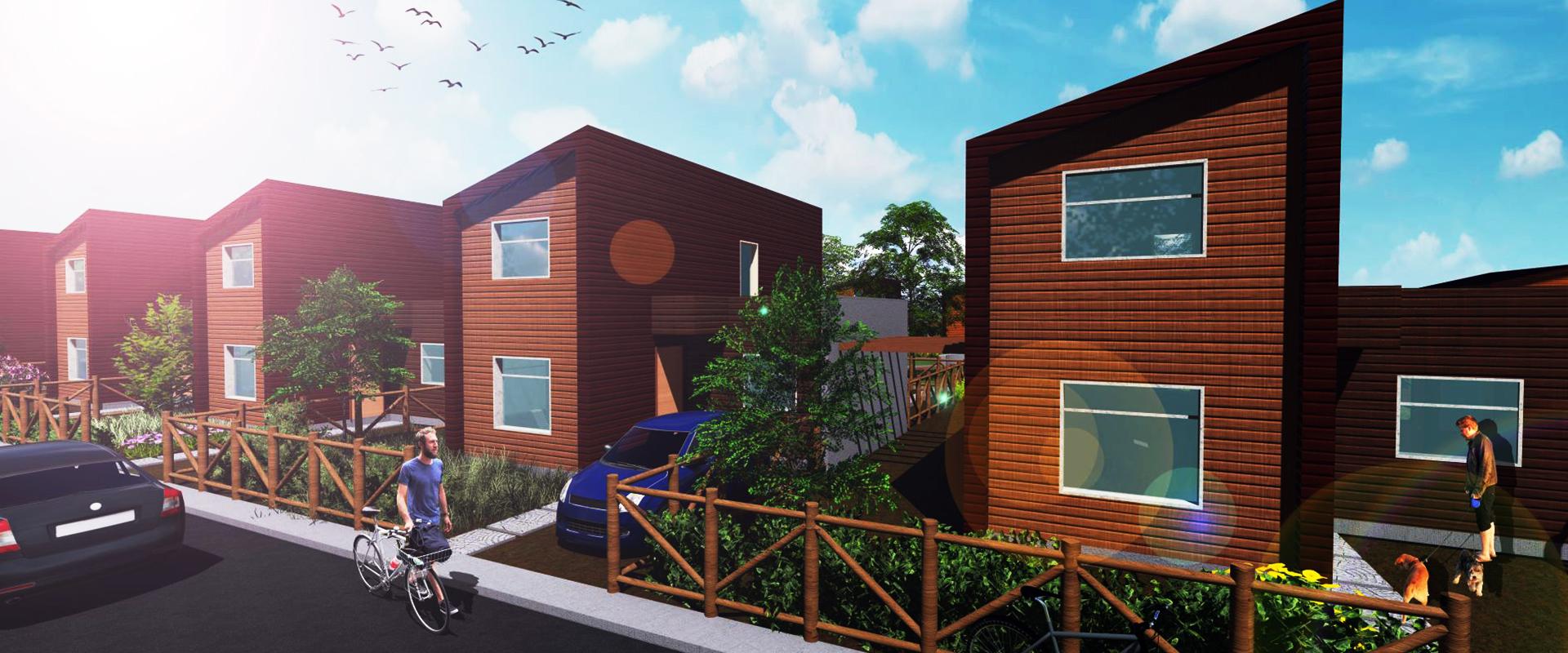 imagen virtual con el diseño de arquitectura del Ecobarrio Villa Villa Alto El Leon